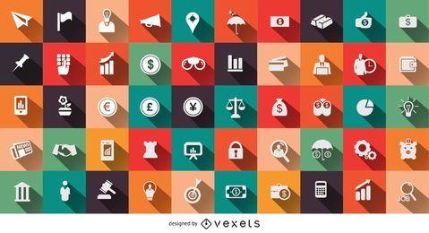 50 ícones financeiros e empresariais