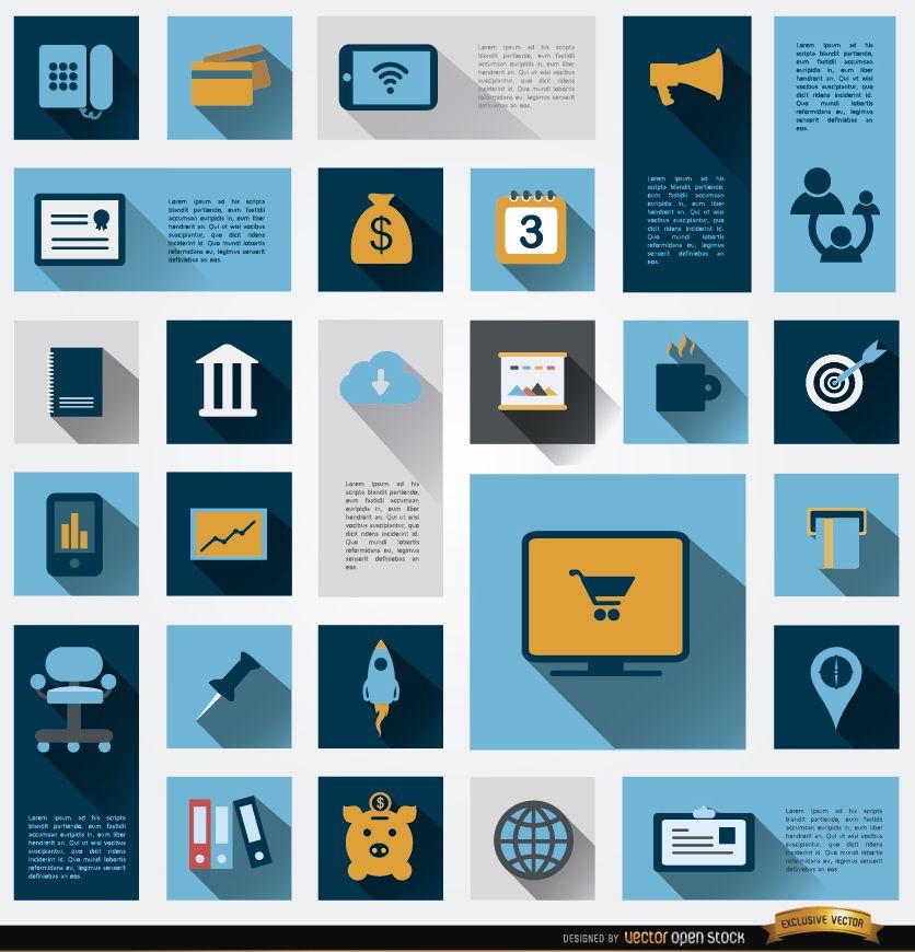 26 iconos de información empresarial