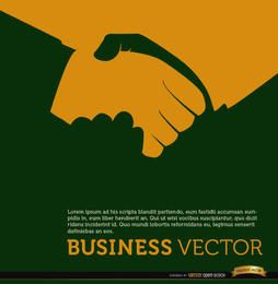 Business handshake orange background