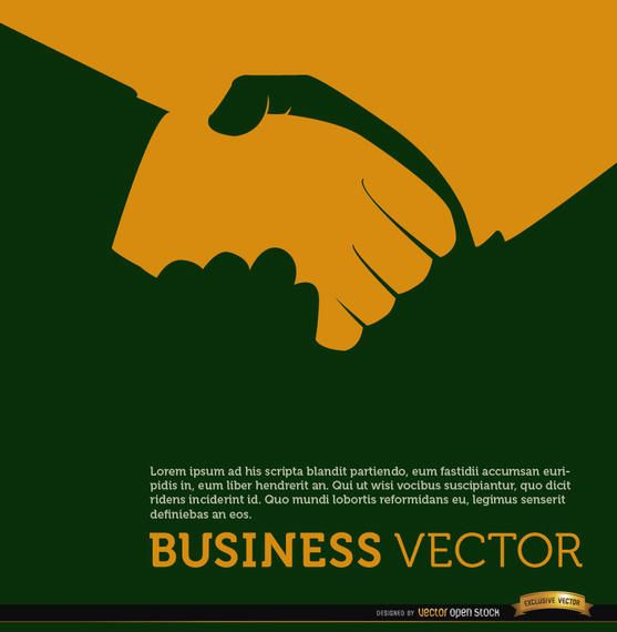 Business handshake orange background