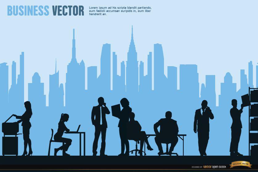 Executives working city skyline background