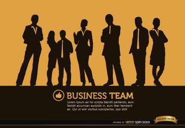 La gente de negocios de pie siluetas de fondo