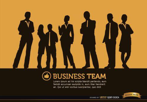 Fondo de siluetas de personas de negocios de pie
