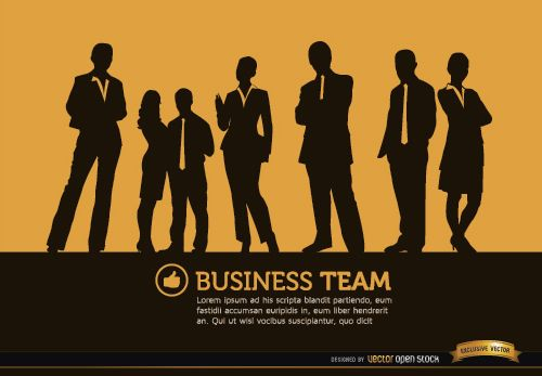 Business people standing silhouettes background