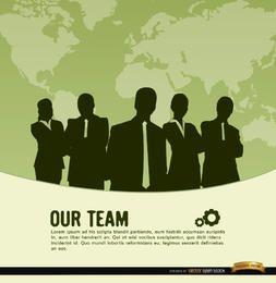 Fundo de mapa de mundo de equipe de negócios