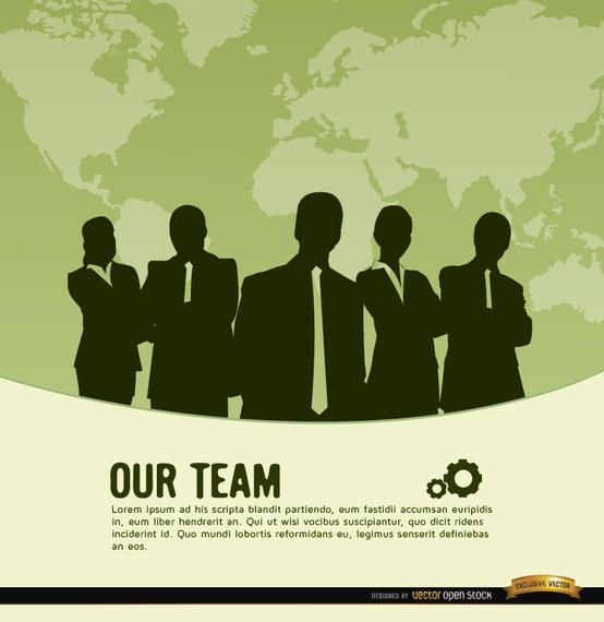 Business team world map background