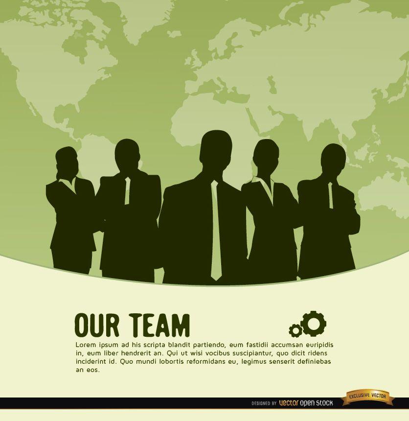 Business team world map background