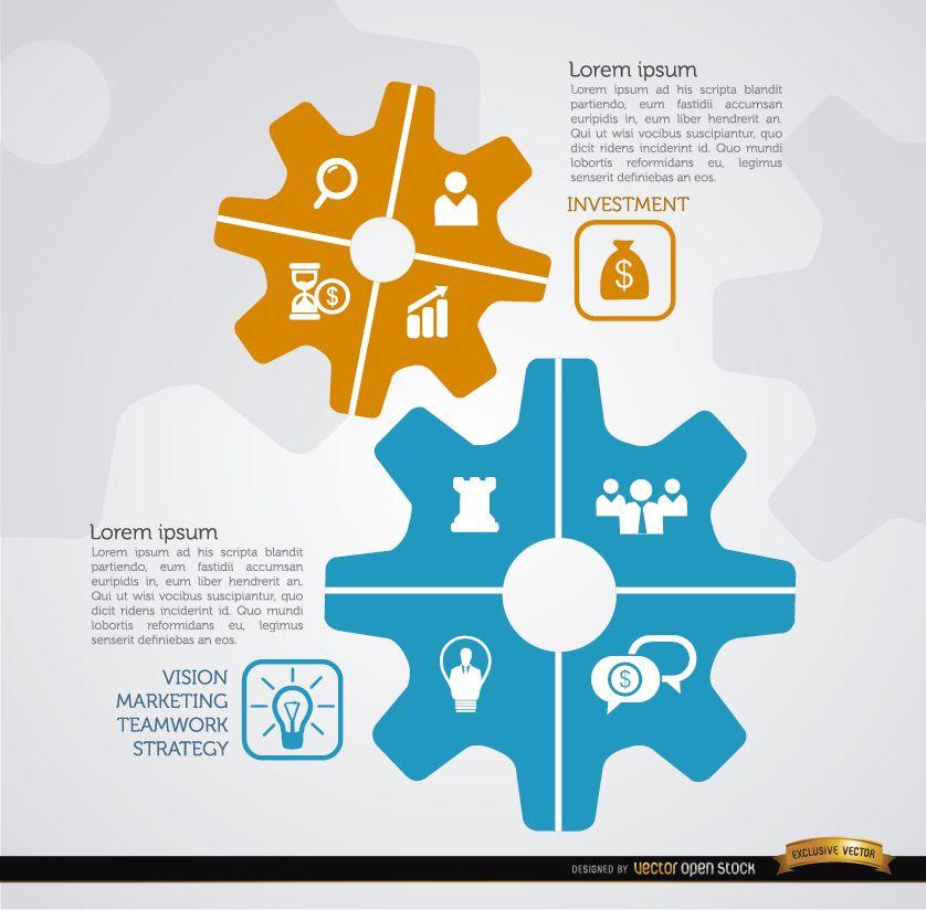 Infografía de engranajes de estrategia empresarial
