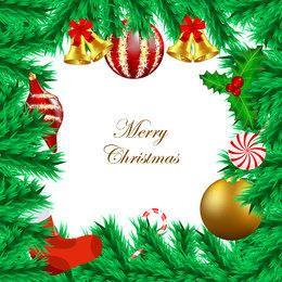 Tarjeta ornamental del marco de la rama del árbol de navidad