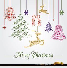 Weihnachten hängende Ornamente Hintergrund