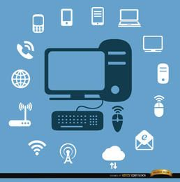 Ícones de dispositivos de internet de computador