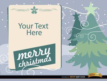 Árboles de navidad con mensaje de texto