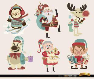 6 personagens de desenhos animados de Natal