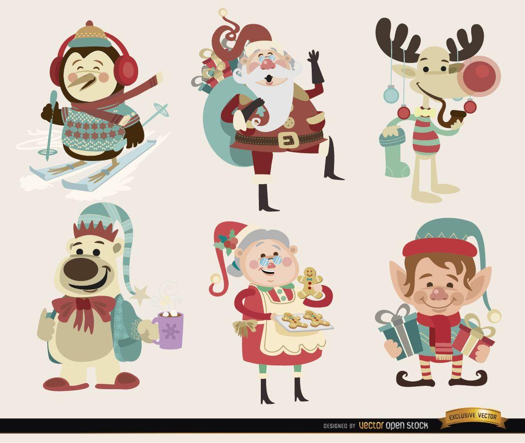 6 personajes de dibujos animados navide?os