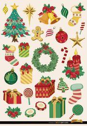 28 Weihnachtselemente und Objekte