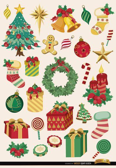28 elementos e objetos de Natal