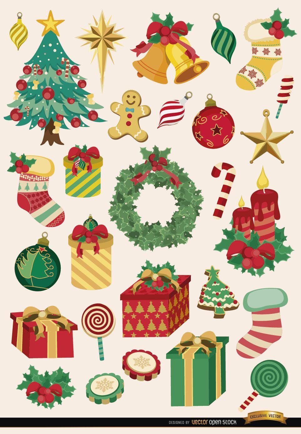 28 elementos de la navidad y objetos descargar vector - Objetos de navidad ...