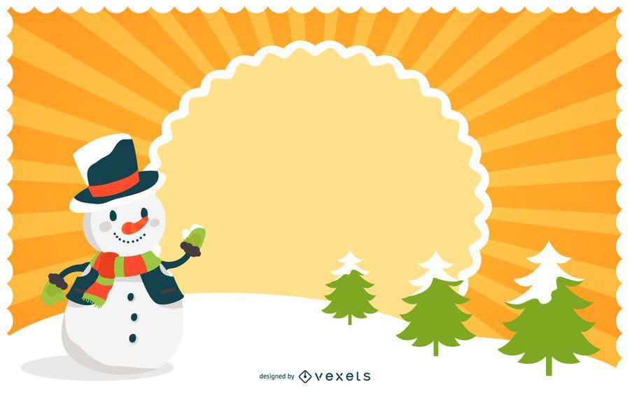 Starburst Weihnachtshintergrund mit Schneemann
