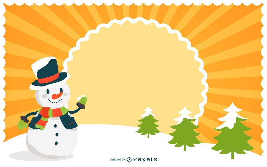 Starburst Xmas Background with Snowman