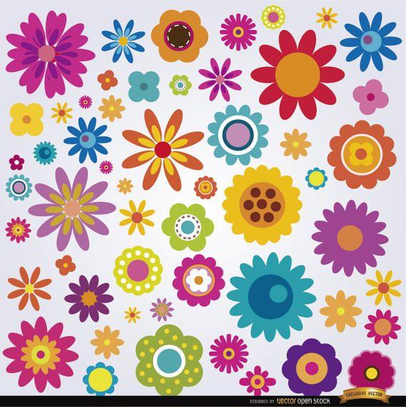 Muchas flores de colores establecidos