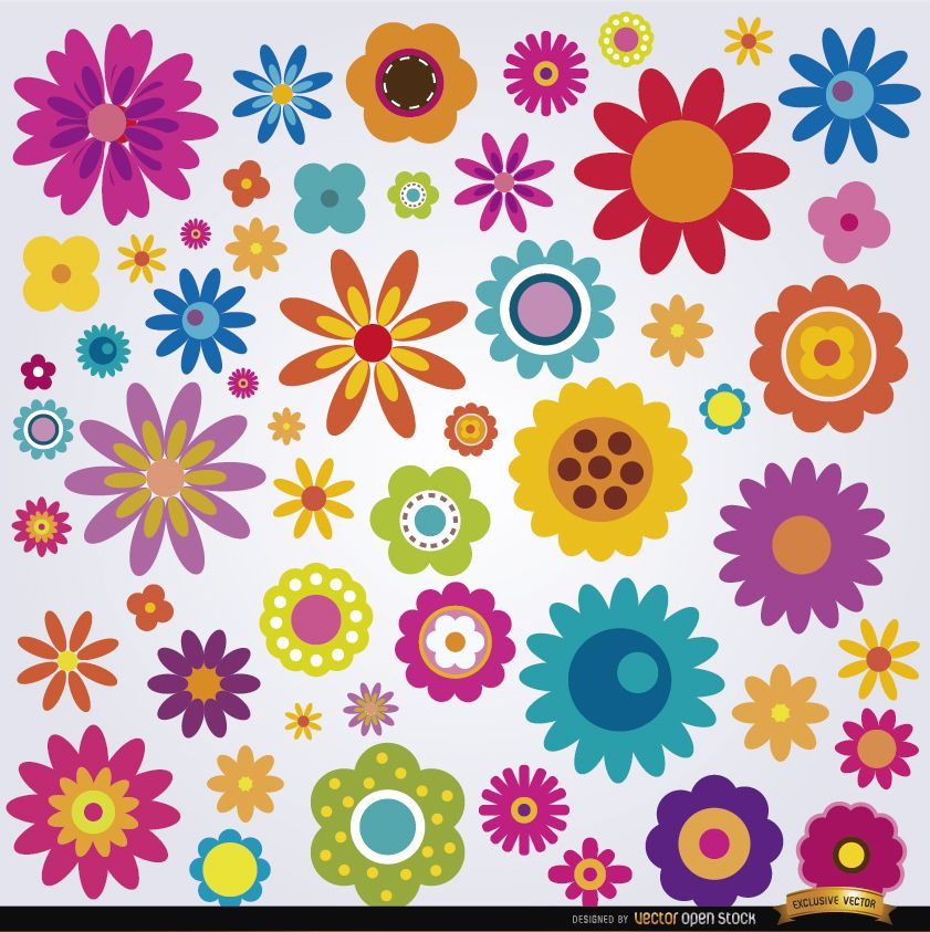 Conjunto de muitas flores coloridas
