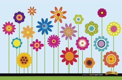 Fondo de tallos de flores diferentes
