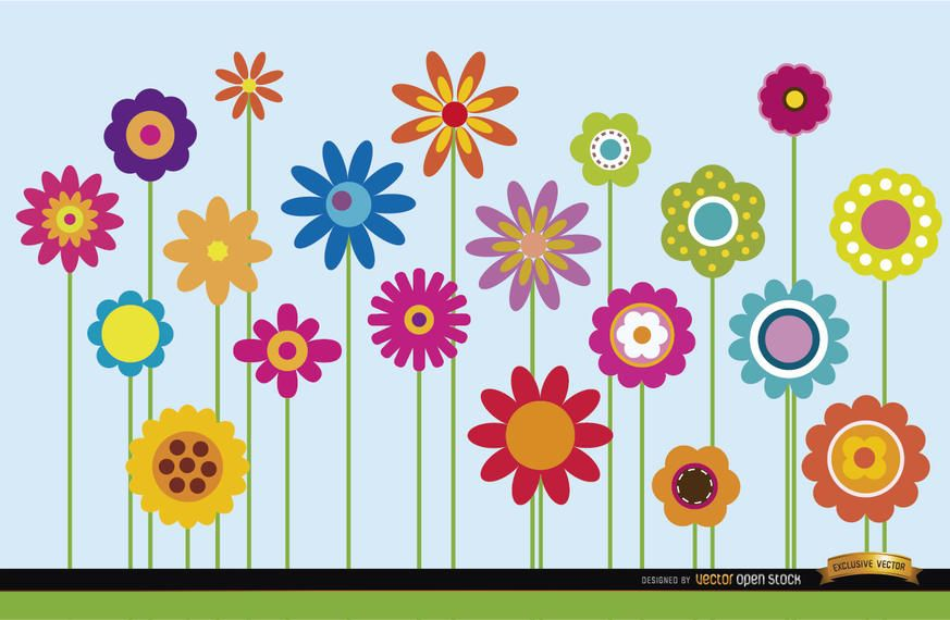 Different flowers stems background