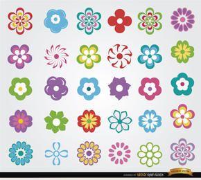 30 conjunto de ícones de flores
