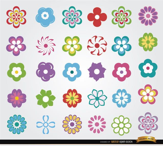 30 Flowers icon set