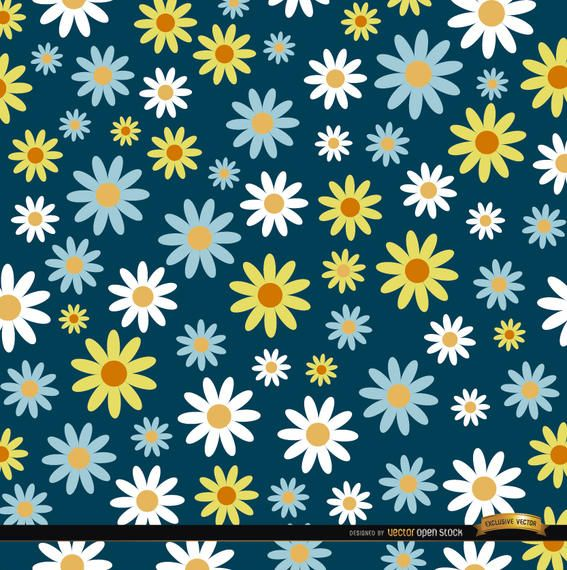 daisies pattern background vector download