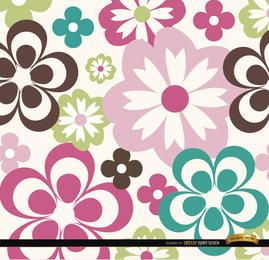 Big and small abstract flowers background