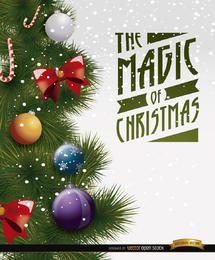 Detalhe da decoração da árvore de Natal