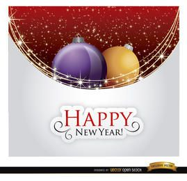 Feliz año nuevo bolas de navidad