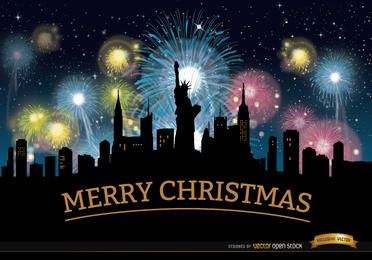 Navidad fuegos artificiales horizonte de Nueva York