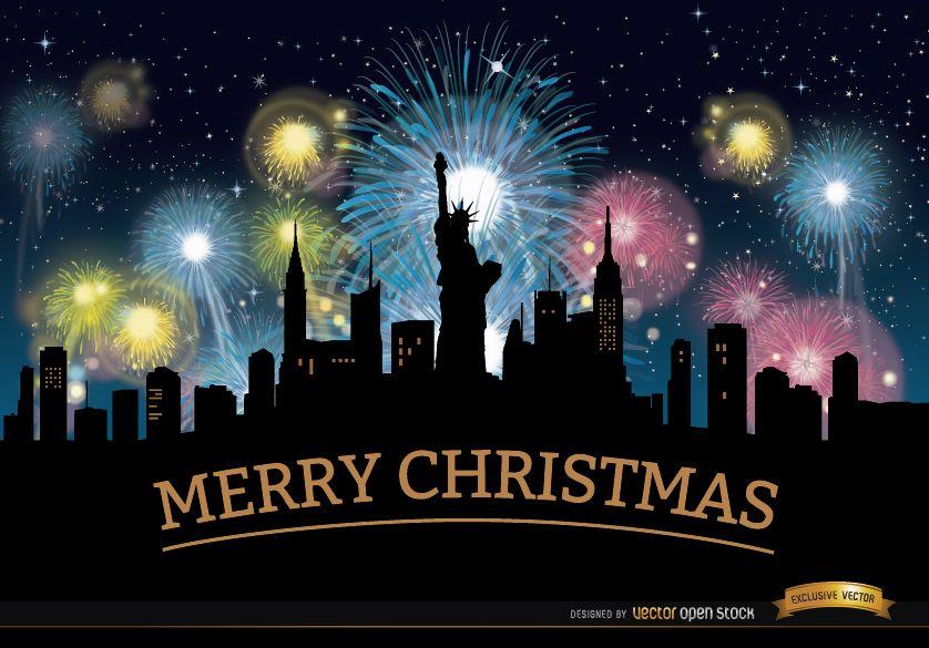 Fuegos artificiales de Navidad horizonte de Nueva York