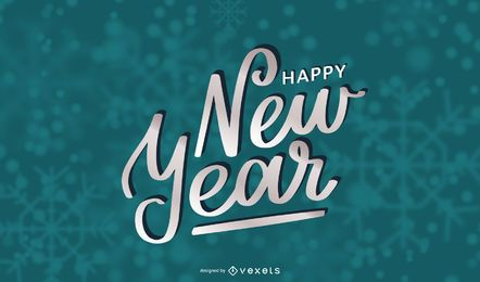Hermosa tipografía de año nuevo en 3D