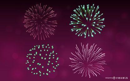 Paquete grande de fuegos artificiales de colores