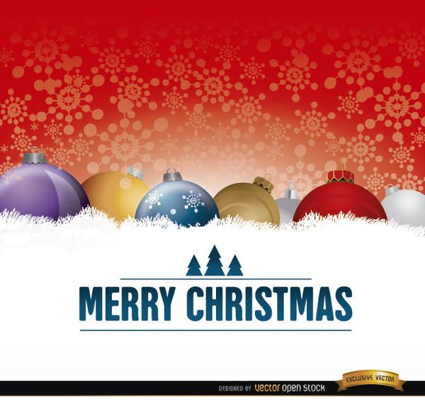 Christmas balls on snow card