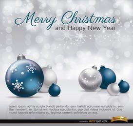 Tarjeta de feliz Navidad bolas azul plata