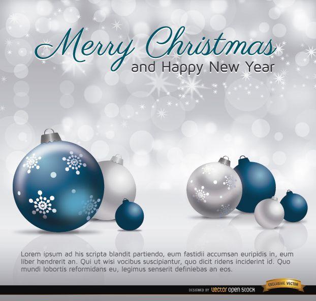 Frohe Weihnachten silberne blaue Kugeln Karte