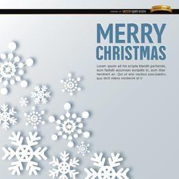 Schneeflocke der frohen Weihnachten formt Hintergrund
