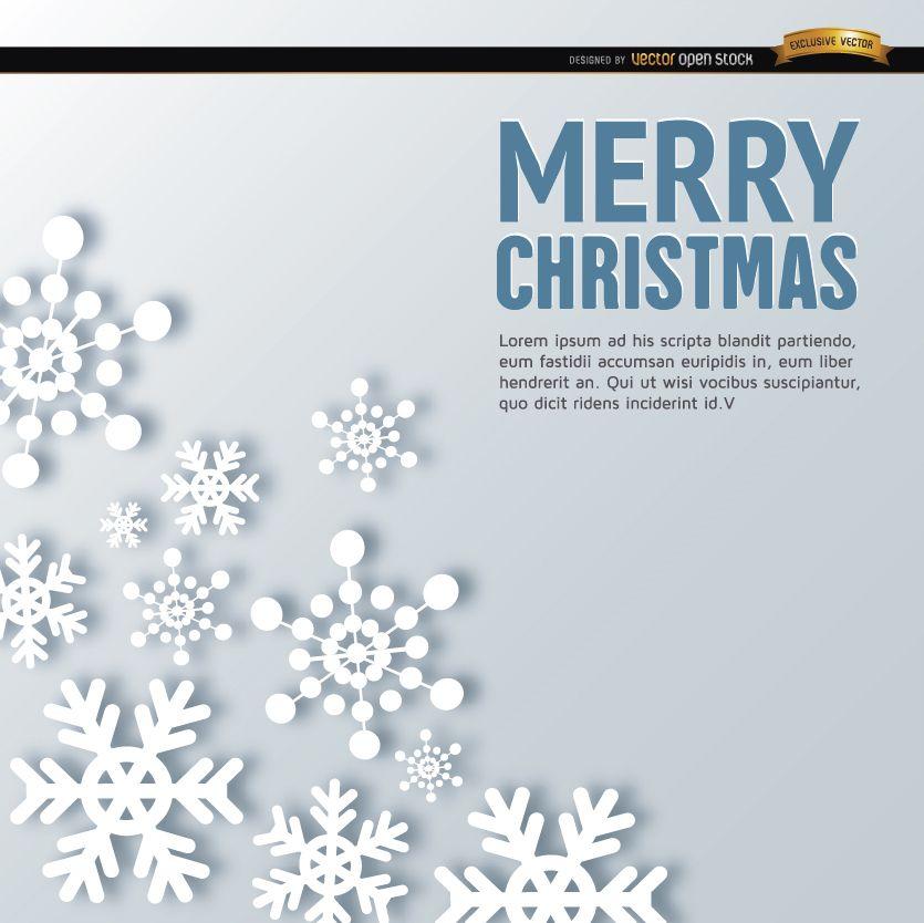 Fondo de formas de copo de nieve de feliz Navidad