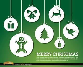 Feliz Natal enfeites pendurados fundo