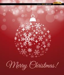 Roter Weihnachtskugel-Schneeflockenhintergrund
