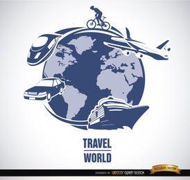 Vector de medios de transporte de viajes mundiales