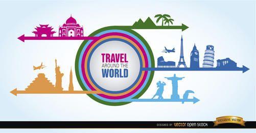 World landmarks collage silhouettes