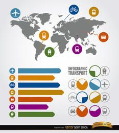 Elementos de transporte de infografía de viaje.