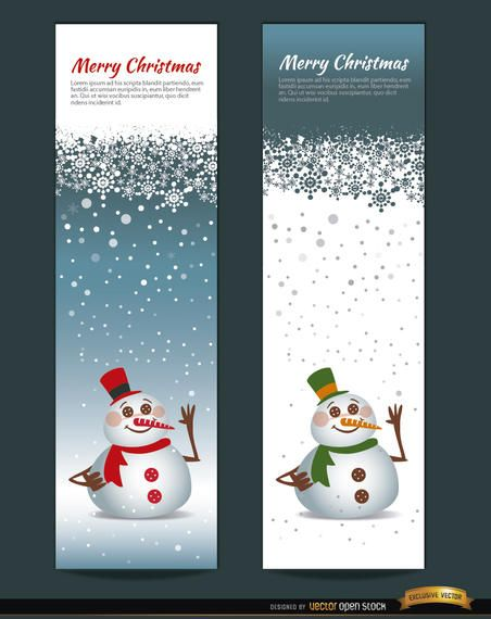 2 Christmas snowman vertical bookmarks