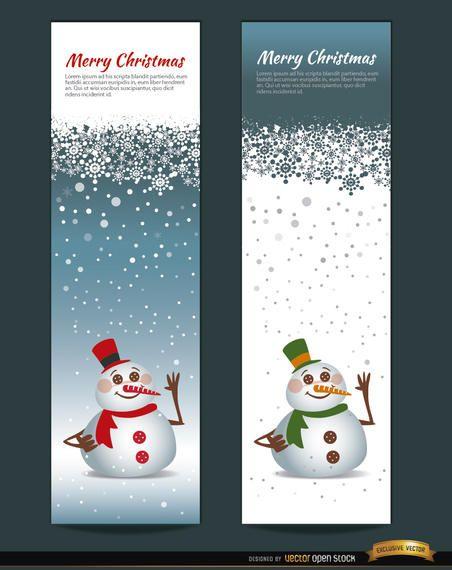 2 marcadores verticales de muñeco de nieve navideño