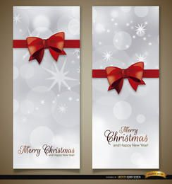 2 Christmas vertical ribbon bow bookmarks